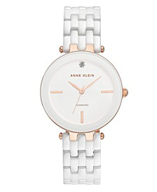 Women's Diamond-Accent White Ceramic Bracelet Watch 34mm