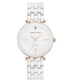 Anne Klein Women's Diamond-Accent White Ceramic Bracelet Watch 34mm