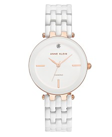 Anne Klein Women's Diamond-Accent White Ceramic Bracelet Watch 34mm