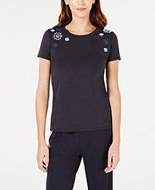 Weekend Max Mara Beaded-Shoulder T-Shirt