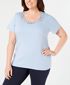 Karen Scott Plus Size Studded Scoop-Neck Top, Created for Macy's