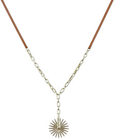 "Lucky Brand Gold-Tone Spur Leather 30"" Pendant Necklace"