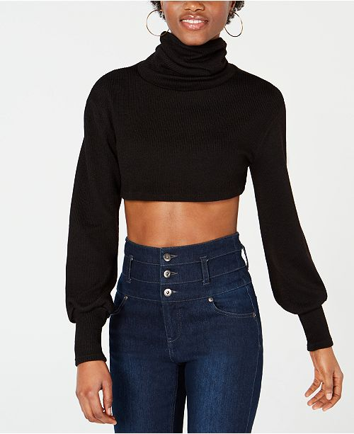 Waisted Cropped Bishop-Sleeve Sweater