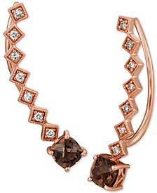 Chocolate Quartz (9/10 ct. t.w.) & Nude Diamonds (1/5 ct. t.w.) Ear Climber Earrings in 14k Rose Gold