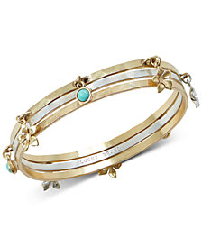 Lucky Brand Two-Tone 3-Pc. Set Stone & Flower Bangle Bracelets