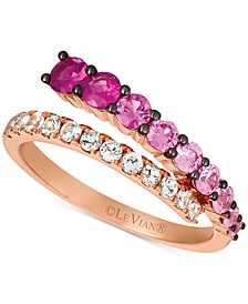 Strawberry Layer Cake Multi-Gemstone Ombré Wrap Ring (1-1/8 ct. t.w.) in 14k Rose Gold