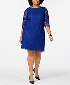 Plus Size 3/4-Sleeve Lace Dress