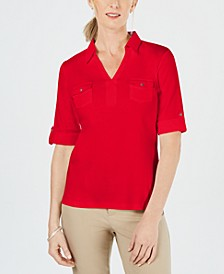 Cotton Johnny-Collar Top, Created for Macy's
