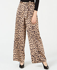 Bar III Leopard-Print Wide-Leg Pants, Created for Macy's
