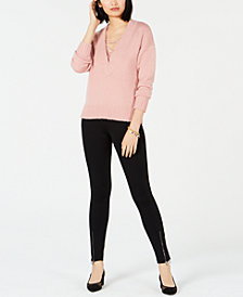 Bar III V-Neck Sweater & Lace-Up Camisole, Created for Macy's
