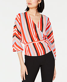 Bar III Striped Wrap Top, Created for Macy's