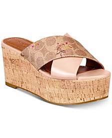 Cross Band Wedge Sandals