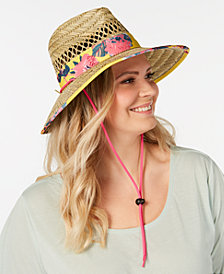 Steve Madden Dusted Floral Bolo Woven Panama Hat