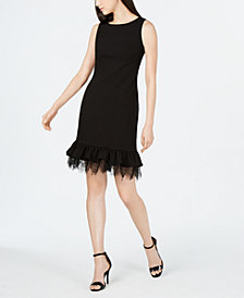 Calvin Klein Ruffled Lace Sheath Dress