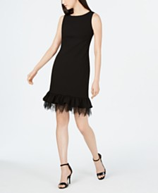 Calvin Klein Ruffled Lace Sheath Dress