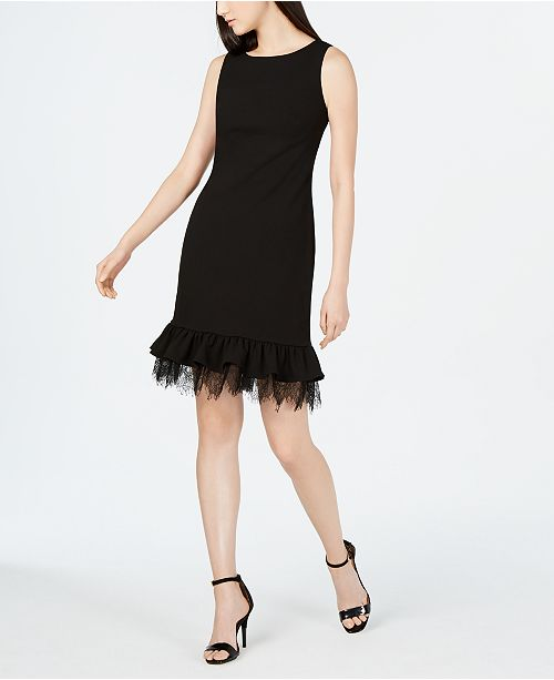 c0f24e95df8e2 Calvin Klein Petite Lace-Trim Sheath Dress   Reviews - Dresses ...