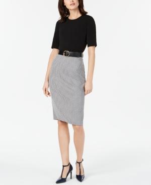 Calvin Klein Dresses BELTED SOLID & HOUNDSTOOTH SHEATH DRESS