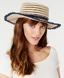 Steve Madden Braided & Denim Chambray Boater Hat