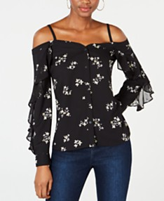 eb2b4ff8cc50c Bar III Floral-Print Off-The-Shoulder Top, Created for Macy's