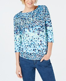 Charter Club Cotton Floral-Print Top, Created for Macy's