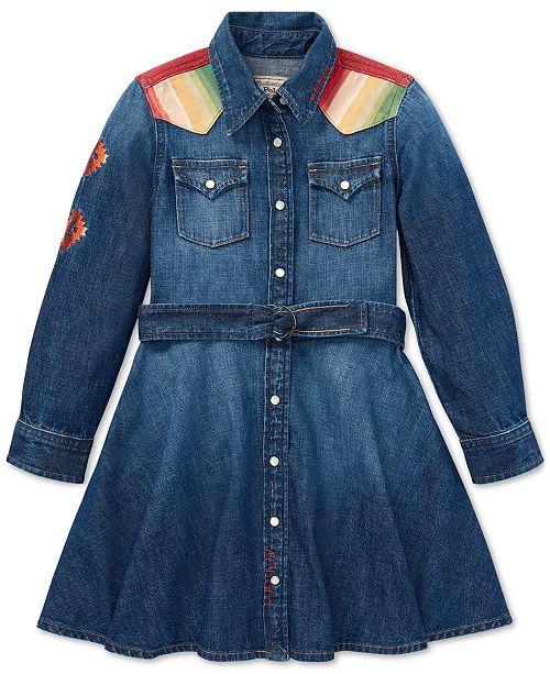 67a27ba034f Polo Ralph Lauren Toddler Girls Denim Cotton Shirtdress   Reviews ...