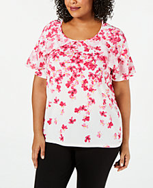 Calvin Klein Plus Size Floral Ruffled Top