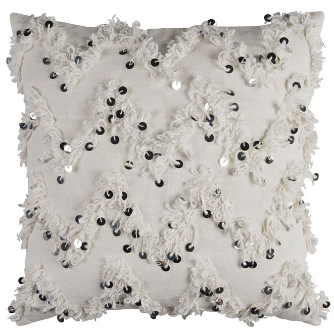 """Rizzy Home 20"""" x 20"""" Textured Fringe and Sequinned Pillow Down Filled"""