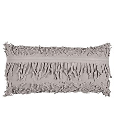 """Rizzy Home Textured 14"""" x 26"""" Pillow with Fringe Down Filled"""