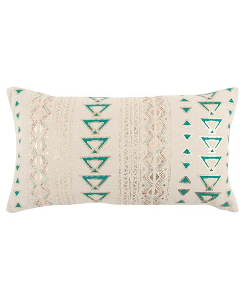 """Rizzy Home 14"""" x 26"""" Geometrical Design Down Filled Pillow"""