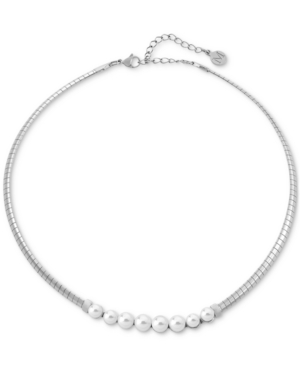 """Majorica STAINLESS STEEL ORGANIC PEARL (6-7MM) CHOKER NECKLACE, 14"""" + 2"""" EXTENDER"""
