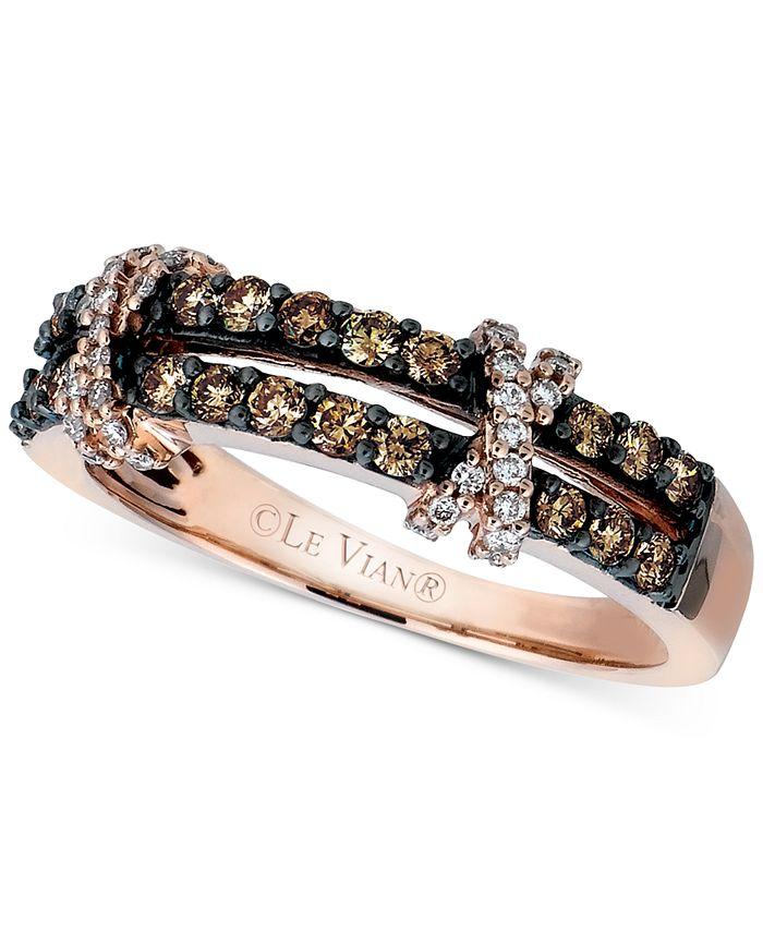 Le Vian - Diamond Double Shank Crisscross Ring (1/2 ct. t.w.) in 14k Rose Gold