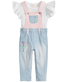 First Impressions Baby Girls Flutter-Sleeve Cotton T-Shirt & Colorblocked Overall, Created for Macy's