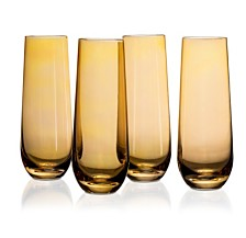 Jay Imports Amber Luster Stemless Flutes - Set of 4