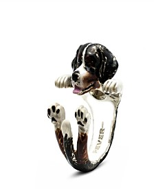 Bernese Mountain Dog Hug Ring in Sterling Silver and Enamel