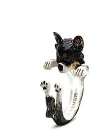 Long Hair Chihuahua Hug Ring in Sterling Silver and Enamel