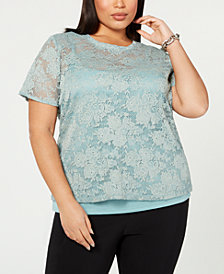 I.N.C. Plus Size Short-Sleeve Lace Top, Created for Macy's
