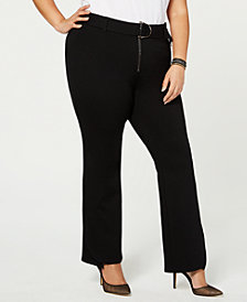 I.N.C. Plus Size Belted Ponte Bootcut Pants, Created for Macy's