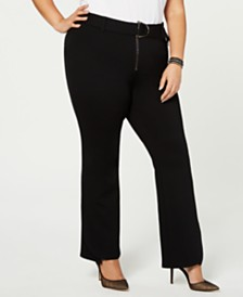 I.N.C. Petite Plus Size Belted Ponte Bootcut Pants, Created for Macy's