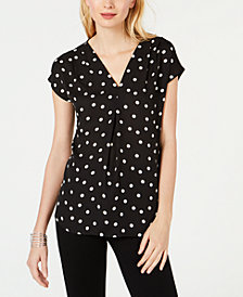 I.N.C. Petite Polka-Dot V-Neck Blouse, Created for Macy's