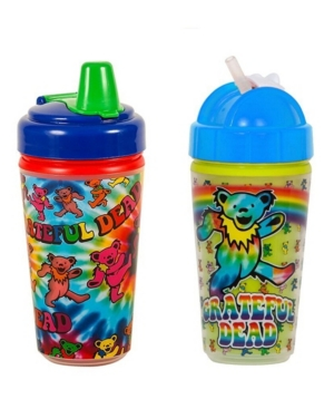 2-Pack of Grateful Dead Tie Dye and Dancing Bear Sippy and Straw Cups by Daphyl's