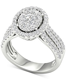 Diamond Oval Cluster Engagement Ring (1-1/2 ct. t.w.) in 14k White Gold