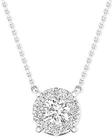 "Diamond Halo Pendant Necklace (1/4 ct. t.w.) in 14k White Gold, 16"" + 2"" extender"