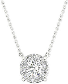 """Diamond Halo Pendant Necklace (1/4 ct. t.w.) in 14k White Gold, 16"""" + 2"""" extender"""