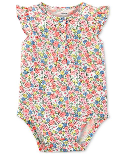 Carter's Baby Girls Cotton Floral-Print Bodysuit