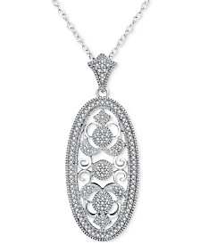 Diamond (1/5 ct. t.w.) Oval Openwork 18 Pendant Necklace in Sterling Silver