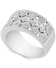 Diamond Openwork Statement Ring (1/10 ct. t.w.) in Sterling Silver