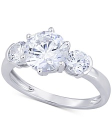 Swarovski Zirconia Three Stone Ring in 14k White Gold