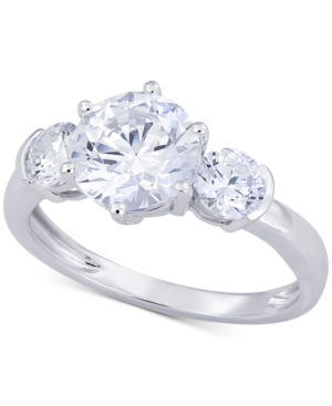 Cubic Zirconia Three Stone Ring in 14k White Gold