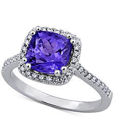 Tanzanite (2-1/8 ct. t.w.) & Diamond (1/3 ct. t.w.) Ring in 14k White Gold
