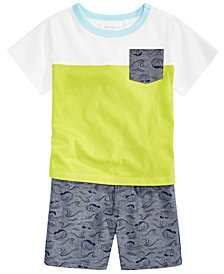 First Impressions Baby Boys Colorblocked Pocket T-Shirt & Chambray Shorts, Created for Macy's